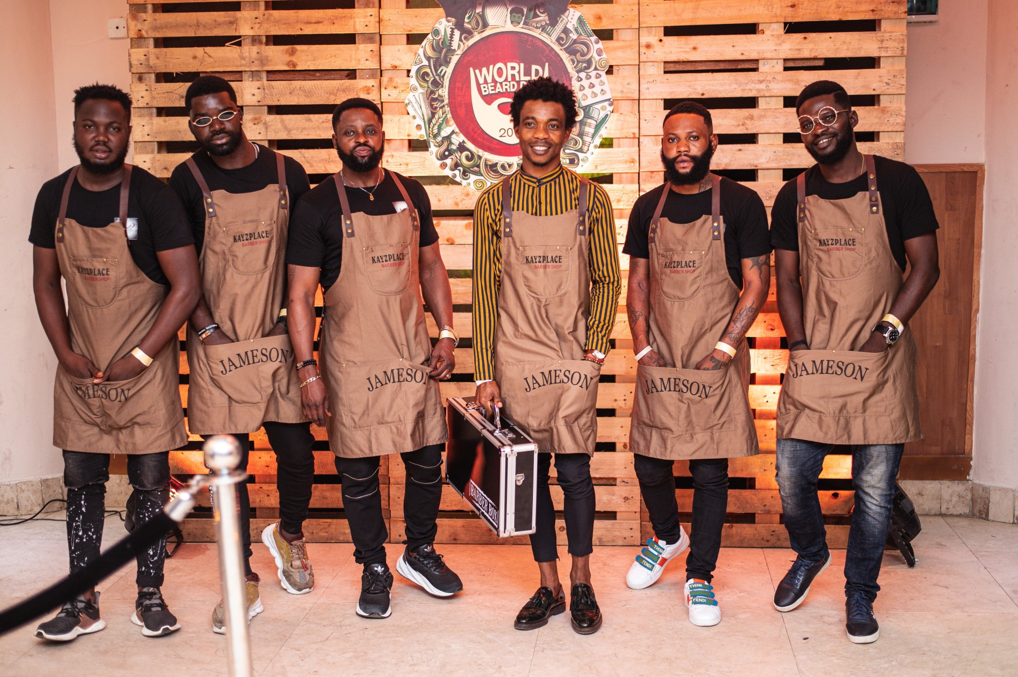 Kayzplace and his barbers at Jameson World Beard Day event