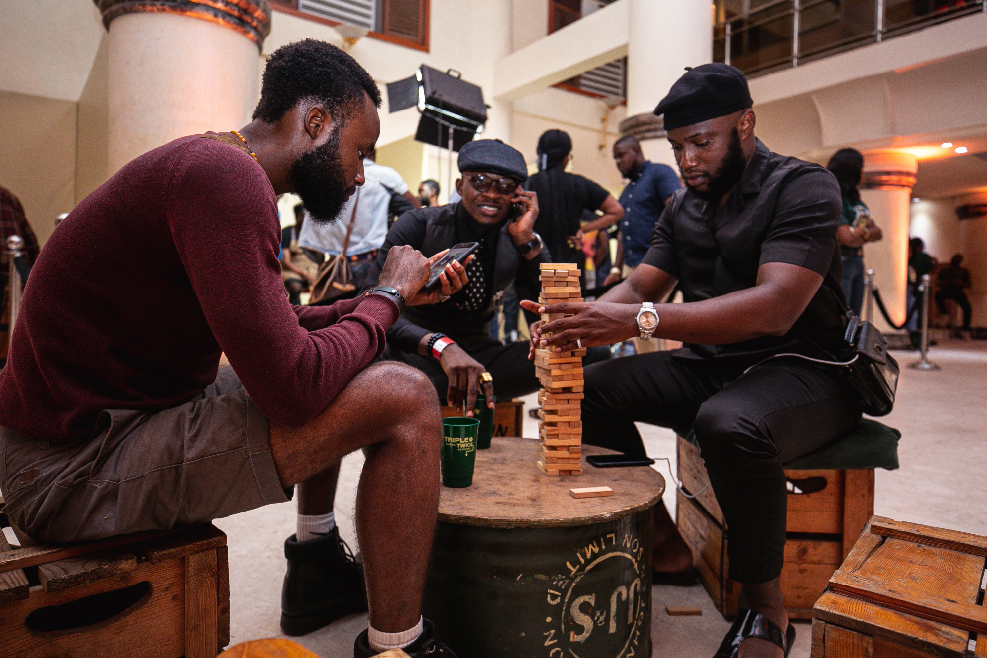 men playing Jenga at Jameson World Beard Day event