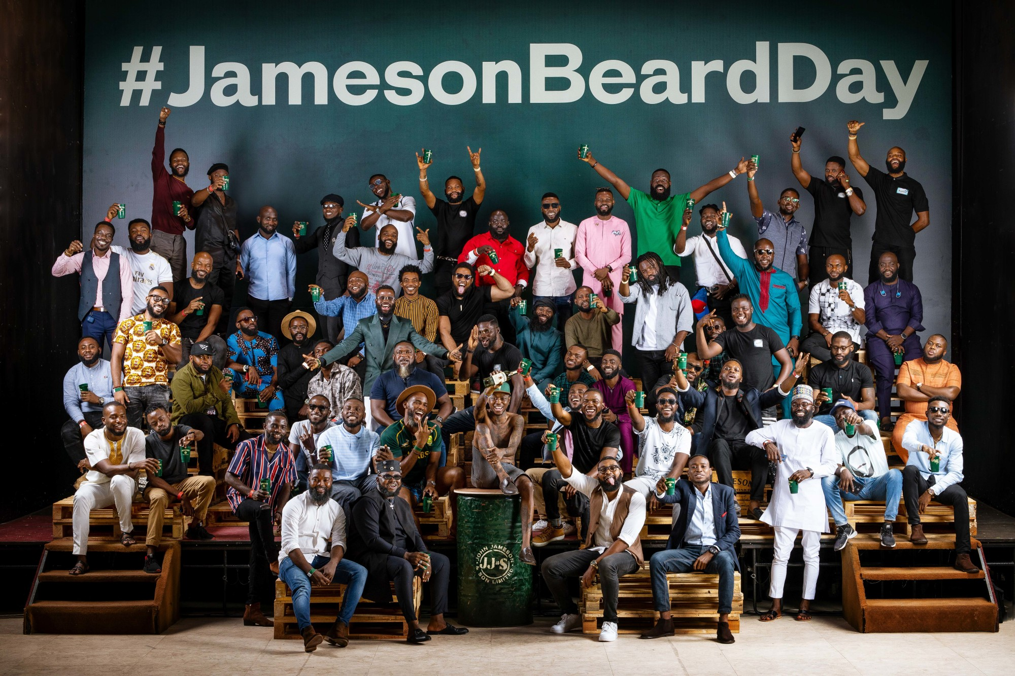 Group of Bearded Men and brothers for Jameson World Beard Day campaign